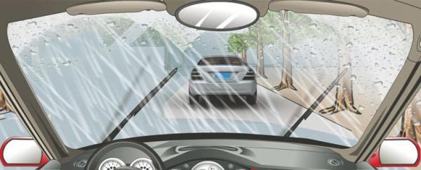 在这种雨天跟车行驶使用灯光,以下做法正确的是?