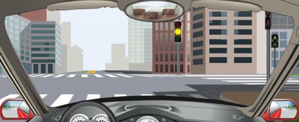 驾驶机动车遇到这种信号灯亮时,如果已越过停止线,可以继续通行。