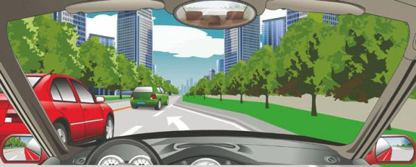 遇到这种情况时,要加速从红车前变更车道。