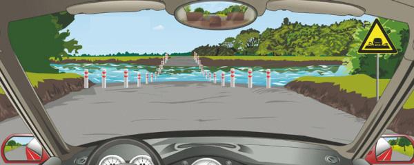驾驶机动车遇到这种桥时首先怎样办?