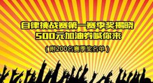 自律挑战赛第一赛季奖揭晓(附200名赛季奖名单)