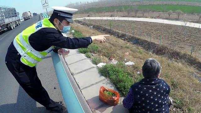 老人跑到高速上挖野菜,被高速交警及时劝离